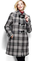Lands' End Women's Plus Size Wool Toggle Coat-Black/Warm Canvas Plaid