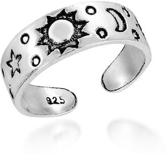 Aeravida Handmade Celestial Sky Sun Moon and Star Sterling Silver Toe or Pinky Ring