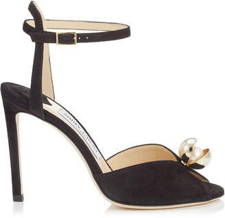 Jimmy Choo SACORA 100 Black Suede Sandals with Oyster Bead Pearl