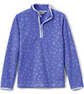 Classic Little Girls Embossed Fleece Half Zip-Dark Blue Lilac Embossed Heart