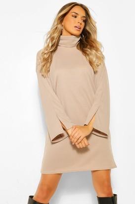 boohoo Recycled Roll Neck Split Sleeve Shift Dress