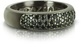 Forzieri Azhar Black Cubic Zirconia & Sterling Silver Ring