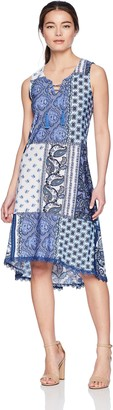 One World OneWorld Women's Petite Sleeveless Lace Up Printed Dress