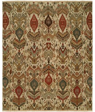 Wildon Home Ikat Handwoven Wool Ivory/Red Area Rug Rug Size: Rectangle 10' x 14'