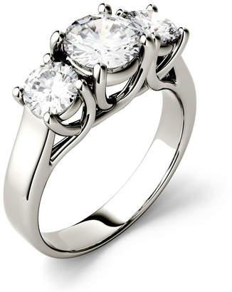 Charles & Colvard Moissanite Three Stone Ring 2 ct. t.w. Diamond Equivalent in 14k White Gold