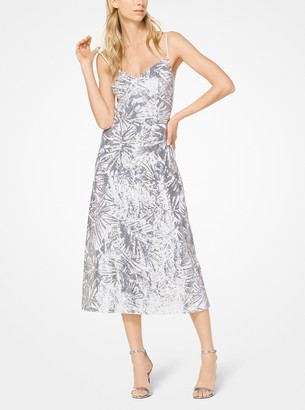 Michael Kors Collection Leaf Sequined Double Crepe-Sable Slip Dress