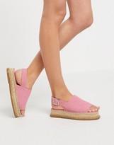 Asos Design DESIGN Hannah suede flatform espadrilles in pink