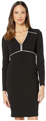 Calvin Klein Long Sleeve Sheath Dress w/ Piping Detail (Black/Cream) Women's Dress