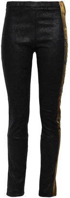 Haider Ackermann Embroidered Satin-trimmed Coated Stretch-suede Leggings