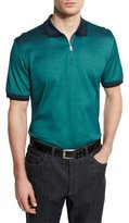 Brioni Tape-Tipped Zip Polo Shirt, Green