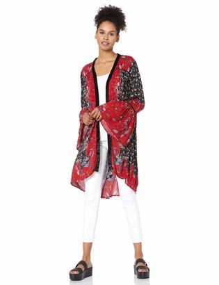 Angie Women's Velvet Trimmed Kimono with Bell Sleeves