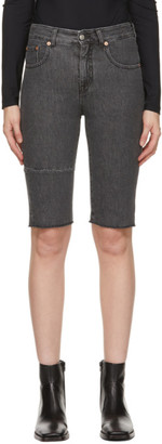 MM6 MAISON MARGIELA Black Denim Paneled Shorts