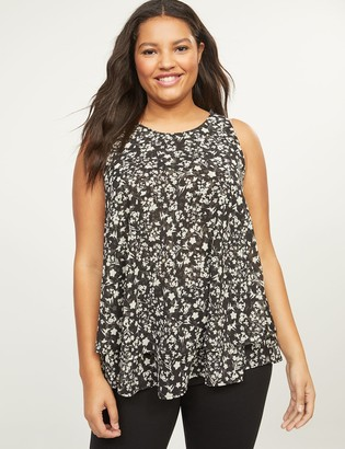 Lane Bryant Scoop-Neck Double-Layer Swing Shell