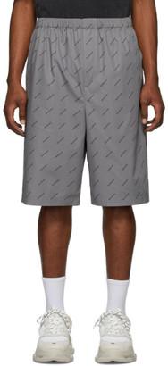Balenciaga Grey Poplin All Over Logo Boxer Shorts