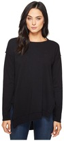 Heather Rib Panel Slouchy Asymmetric Pullover