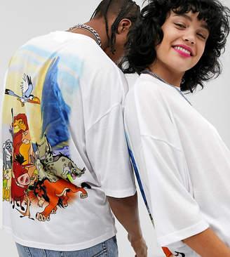 Asos Design Disney The Lion King x DESIGN unisex oversized t-shirt with iconic character back print-White