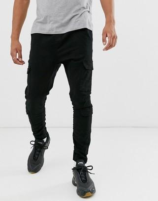 Brave Soul utility cargo skinny trouser in black