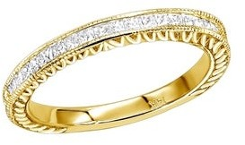 Ladies 14K Gold Princess Cut Diamond Wedding Band Vintage Style 0.5ctw by Luxurman