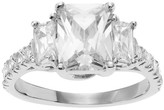Journee Collection 1 1/2 CT. T.W. Emerald-cut CZ Three Stone Engagement Prong Set Ring in Sterling Silver - Silver