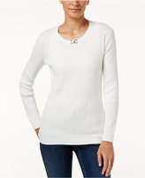 Karen Scott Petite Hardware-Trim Cable-Knit Sweater, Only at Macy's