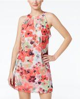 Amy Byer Juniors' Printed Ruffle-Back Halter Dress