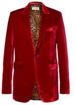 Saint Laurent Red Slim-Fit Velvet Blazer