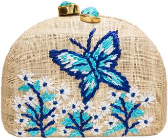 Rafe Ariella Butterfly Embroidered Raffia Clutch