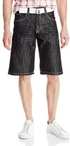 Southpole Men's Belted Basic Denim Shorts in Shiny Streaky Fabric
