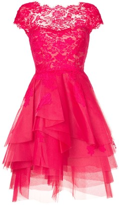Monique Lhuillier lace-embroidered flared dress