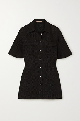 Maggie Marilyn Lead The Charge Brushed Cotton-blend Tweed Shirt - Black