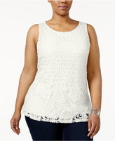 Charter Club Plus Size Lace-Front Top, Created for Macy's