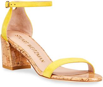 Stuart Weitzman Simple Cork-Heel Suede Sandals