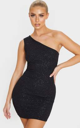 PrettyLittleThing Black Glitter One Shoulder Bodycon Dress
