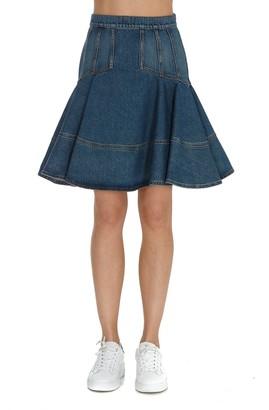 Alexander McQueen Pleated Denim Mini Skirt