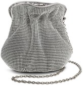 Tevolio Women's Beaded Metal Pouch Handbag with Chain Strap and Kiss Lock Clasp
