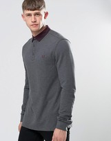 Fred Perry Polo Shirt With Woven Collar And Long Sleeves In Graphite Marl