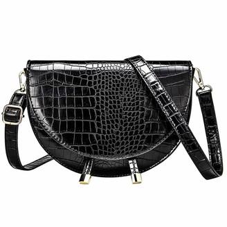 Feith&Felly Women Crocodile Half Moon Bag Vintage Saddle Leather Shoulder Crossbody Bags