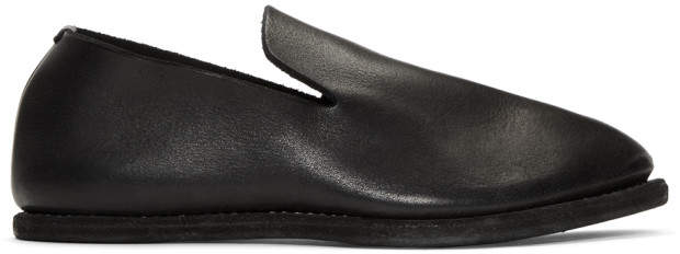 Guidi Black Leather Slip-On Loafers
