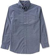 Roundtree & Yorke Trim-Fit Long-Sleeve Printed Poplin Sportshirt