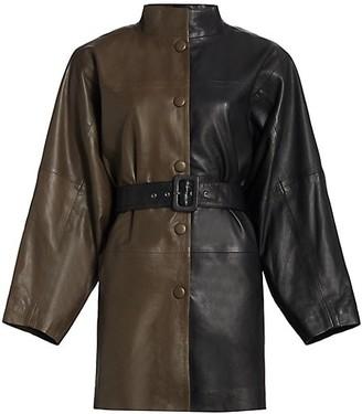 Gestuz Suri Leather Colorblock Safari Coat