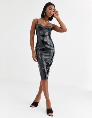 Public Desire structured bodycon midi dress in vinyl