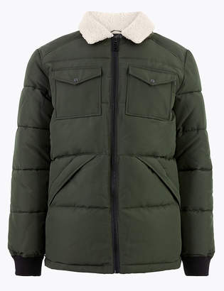 Marks and Spencer Borg Collar Puffer Jacket with Thermowarmth