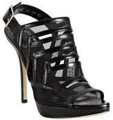 black leather and mesh cut-out platform sandals