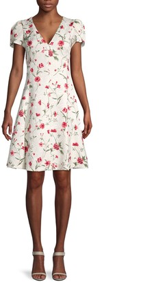 Michael Kors Cap-Sleeve Floral Flare Dress