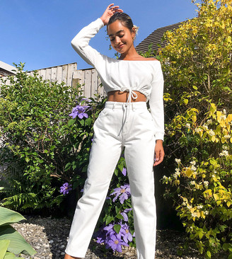 Asos DESIGN Petite High rise 'slouchy' mom jeans in off white