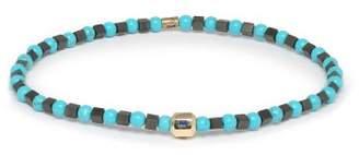 Luis Morais Sapphire Charm Beaded Bracelet - Mens - Blue