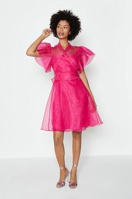 Coast Short Sleeve Organza Wrap Dress