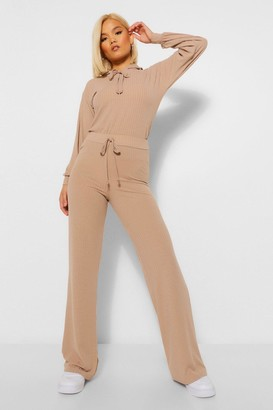 boohoo Petite Knitted Rib Hoody and Wide Leg Trousers