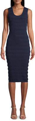 Nicole Miller Scoop-Neck Sleeveless Smocked Knit Dress