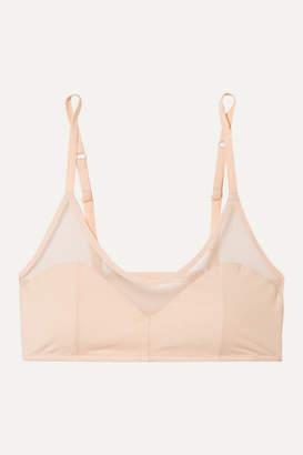Skin - Oralie Stretch Organic Pima Cotton-jersey Tulle Soft-cup Bra - Pastel pink